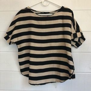 Zara Striped Shirt Sleeve Top